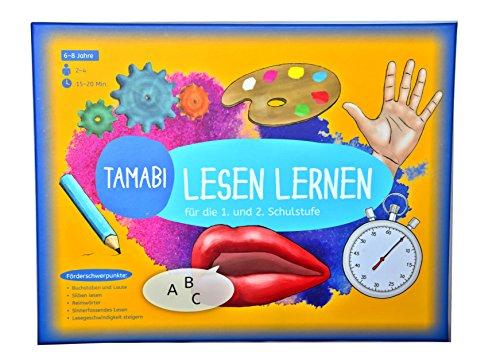 Lesen-lernen-Spiel-Tamabi-Lesen-lernen-Buchstaben-lernen-Silben-und-erste-Wrter-lesen-und-mit-Spa-flssig-lesen-lernen-Lernspiele-ab-6-Jahre-Lese-lern-Spiel-fr-die-1-Klasse-und-2-Klasse Spielerisches Lesetraining-Lesen lernen Spiel: Buchstaben lernen, Silben und erste Wörter lesen und mit Spaß flüssig lesen lernen, Lernspiele ab 6 Jahre, Lese-lern-Spiel für die 1. und 2. Klasse -