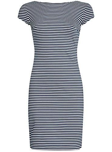 oodji Collection Damen Enges Kleid mit Rückenausschnitt Blau (7910S)