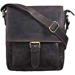 STILORD 'Nevio' Bolsa Bandolera Cuero Hombre pequeño Bolso Mensajero Caballero Bolso Ocio Salir Trabajo Bolso Piel auténtica para Tablet 10.1' iPad, Color:marrón Oscuro