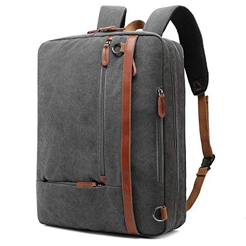 CoolBell umwandelbar Aktentasche Rucksack Messenger Bag 15,6 Zoll Laptoptasche Herren Business Umhängetasche Mehrzweck Arbeitastasche Reisen Backpack Notebook Schultertasche(Canvas Grau)