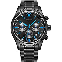 SONGDU Men's Multi-Function Chronograph Quartz Watch With Black Stainless Steel Bracelet DM-9202-P56ELB--Ideal and Celebrative Gift for Christmas and New Year Sales