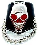 Echt Leder Armband mit Alienkopf besetzt und Kette U5-10
