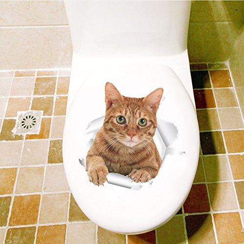Dekorativer Aufkleber Toiletten Toilette Badezimmer Toiletten Aufkleber Kreatives Gelbes Kätzchen