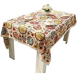 NiSeng Decoracion Hogar Manteles de mesa de lino Girasol Estampado de encaje Mantel Antimanchas Rectangular para Hosteleria Girasol 100x140 cm
