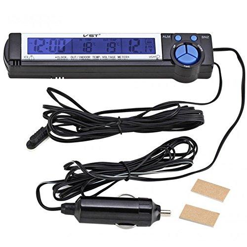 Sharplace Digital LCD Innen Außen Thermometer Temperaturmesser Spannungstester Voltmeter Auto KFZ Uhr Wecker