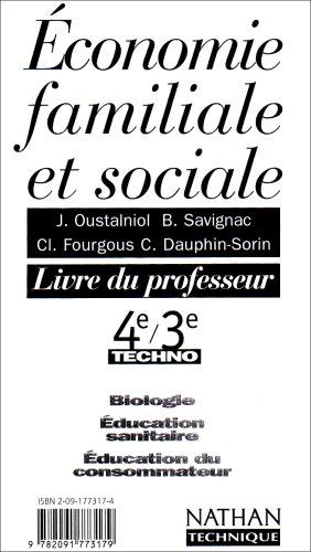 Education familiale et sociale, 4e 3e technologique, professeur, 1997 par Dauphin