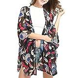 MOIKA Damen Cardigan, Frauen Sommer Floral Chiffon Kimono Cardigans Bluse Cover Ups (M, B-Schwarz)
