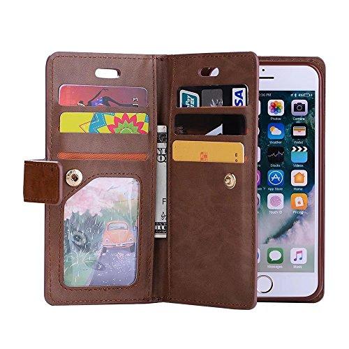 iPhone 6s Flip Wallet Coque, Housse Portefeuille Zip, PU Cuir Etui Case Cover Protection Complète pour iPhone 6 (Marron) Marron