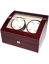 Asvert Caja Giratoria para Relojes Mecánicos Silenciosa de Madera Pintada Multi-Programas de Rotación con Expositores de Relojes (4+6, Rojo)