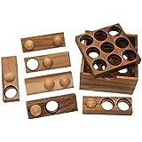 9-Loch-Puzzle, Gr. S (8,5x8,5x4cm), Packproblem, Holzspiel, Denkspiel, Knobelspiel, Geduldspiel aus Holz, 3D Puzzle, Reisespiel