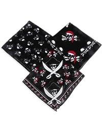 Piraten Bandana Kopftuch 12 Stück in 3 Motiven mit 12 Piraten Kinder Tattoos Palandi®