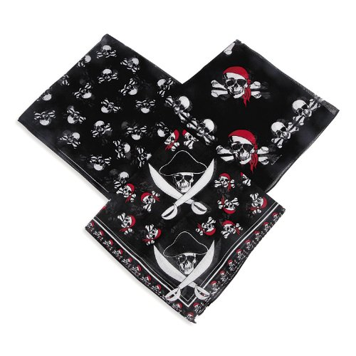 Piraten Bandana Kopftuch 12 Stück in 3 Motiven mit 12 Piraten Kinder Tattoos Palandi® (Stoff Bandana)