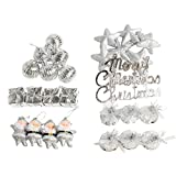 Skyoo 28pcs Christmas Pendant Glitter Ornaments Xmas Tree Hanging Ornaments Set (A3)