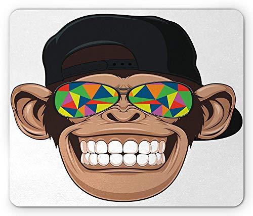 Cartoon-Mausunterlage, lustiger Hipster-AFFE mit bunter Sonnenbrille und Hut-Rapper-Hippie-Affen-Kunst, Standardgrößen-Rechteck-rutschfestes Gummi-Mousepad, Braun-Schwarz-Weiß,Gummimatte 11,8