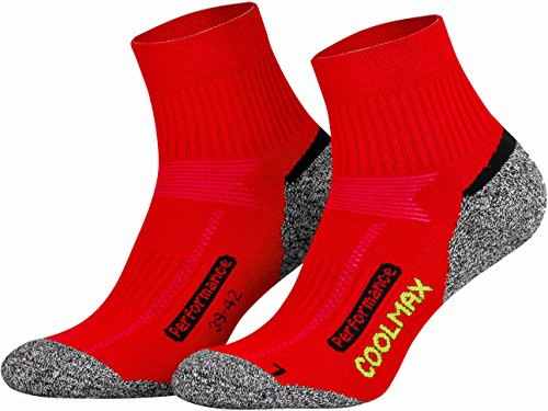 Piarini 2 Paar Coolmax Wandersocken Outdoorsocken Funktionssocken kurz | rot 35-38 -