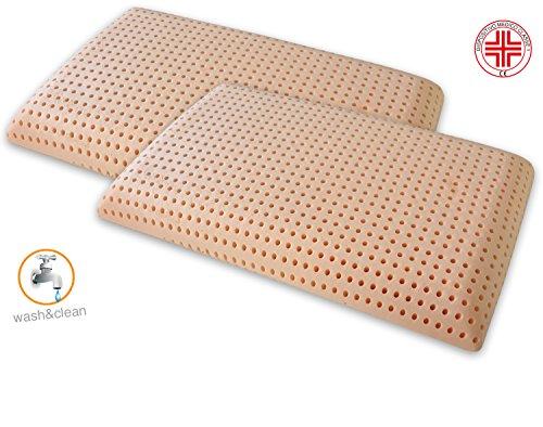 Marcapiuma - Paar Memory Nackenstützkissen Bio CLEAN waschbar SUPER HYGIENISCH kühl - Bio Memory Soja Orthopädische Kissen 100% Baumwolle Bezug - MEDIZINPRODUKT - Kopfkissen gegen Milbe Made in Italy -
