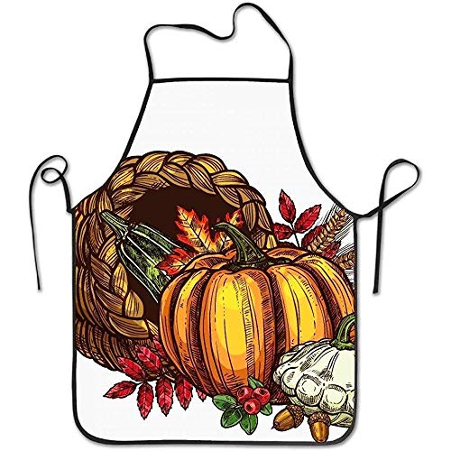 ouyjian Custom Aprons Autumn Harvest Sketch Funny Cooking Apron for Men Women - BBQ Grill Kitchen Chef Barbecue Gifts, One Size Fits Most