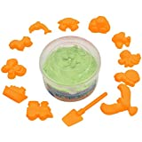 #5: AsianHobbyCrafts Kinetic Sand with 12 Shaping Tools: Color - Green : Wt - 300gm : for Sand Modeling, Kids' Activities, DIY Crafts