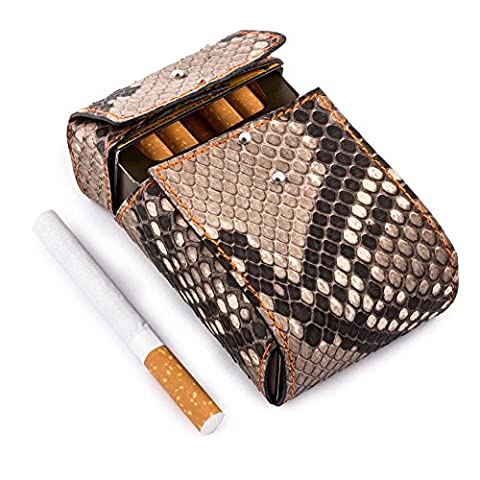 "Maroquinerie Paris - Etui luxe porte paquets de cigarettes taille standard cuir python naturel couture orange ""Made in France"""