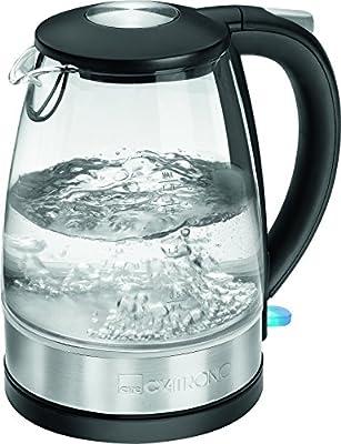 Clatronic Wks 3680G en verre Bouilloire en acier inoxydable 1,7l, 360°, élément de chauffage caché en acier inoxydable