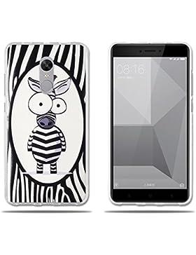 Funda Xiaomi Redmi Note 4X, Decorada con una Simpatic Cebra de Dibujos Animados, Carcasa Gel de TPU Silicona de...