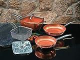 XSQUO Useful Tech Lot de 2poêles Chef. Tailles de 22et 26cm + faitout 4en 1Wok, sauteuse, Marmite en Four et friteuse. De Cuivre micronizado et Céramique. Vital Copper