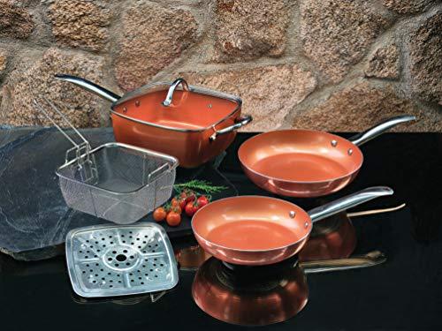 XSQUO Useful Tech Lot de 2 poêles Chef. Tailles de 22 et 26 cm + faitout 4 en 1 Wok, sauteuse, Marmite en Four et friteuse. De Cuivre micronizado et Céramique. Vital Copper