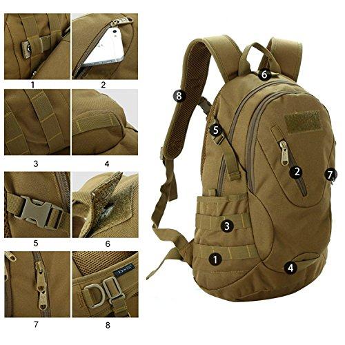 Outdoor tattico militare Zaino Zaino Campeggio Escursioni Borsa da viaggio, DCF BL