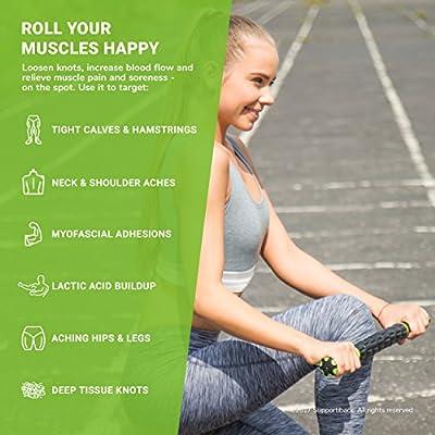 Supportiback® Tiefengewebe Massageroller – Massage-Stick lindert Muskelkater, beugt Verletzungen vor, verbessert die Beweglichkeit und Durchblutung – Sport-Massage-Therapie zur Tiefengewebsmassage