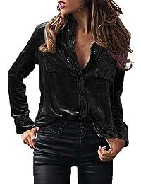Bekleidung Longra Longra Damen Bluse Samt Bluse Elegante Stretch Hemden  Taillierte Langarm Blusen… 6c2be41538