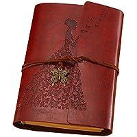 Guwheat Cuaderno retro del diario Cuero de la PU Cubre la libreta espiral del vendaje del espiral con la mariposa A6 del metal (Marrón)