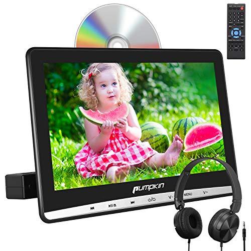 "Pumpkin 12\"" Reproductor de DVD para Reposacabezas de Coche para Niños, con Auriculares con Cable y HD Pantalla, soporta Tarjeta SD, USB, AV-IN/out, CD, DVD Región Libre"
