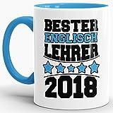 Tasse Bester Englisch-Lehrer/Schule/Abi/Abschied/Lehrer-Geschenk/Geschenk-Idee/mit Spruch/Innen & Henkel Hellblau