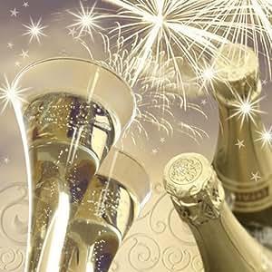 20 Stück Servietten 3-lagig 33x33cm 1/4 Falz Sektgläser creme champagner Tissue Tischdeko Weihnachten Advent Silvester