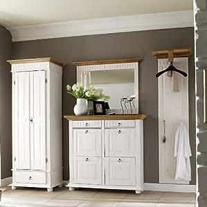 schuhschrank stockholm kiefer massiv wei antik. Black Bedroom Furniture Sets. Home Design Ideas