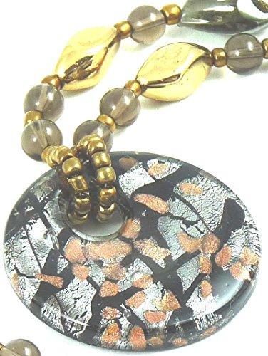 Modeschmuck extra lange Kette Halskette mit Anhänger Marke Irina Farbe braun und gold schwere Qualität Material Glas 0008 (Ornament Glas Schwere)