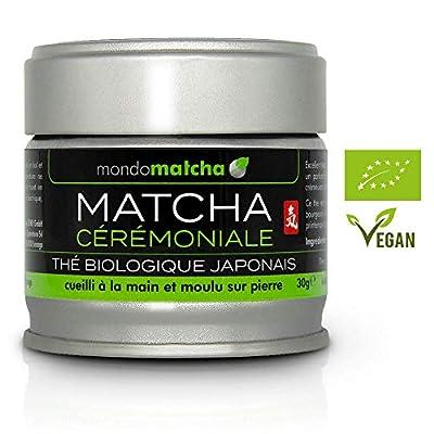 Thé Vert MATCHA BIO Japonais de QUALITÉ DE CÉRÉMONIE – Energisant Détoxifiant Favorise le Calme et la Concentration - Cueilli à la Main - Produit au Japon, Kagoshima - 30g - Organic Tea mondomatcha