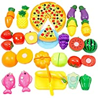 JT-Amigo Jeu D'imitation - 24 pièces Set - Jeu de cuisine legumes fruits pizza a decouper