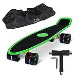 Feldus S15E 22' Retro Skateboard Komplett Fertig Montiert mit Tasche und T-Tool (Sandpapier Deck LED Räder in Schwarz), Grün, 55 x 14,5 x 19 cm