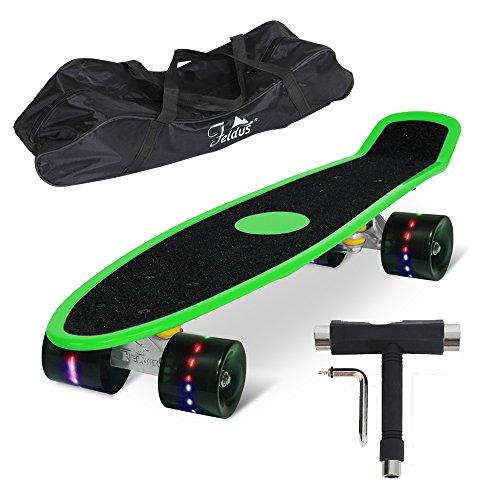 """Feldus S15E 22"""" Retro Skateboard Komplett Fertig Montiert mit Tasche und T-Tool (Sandpapier Deck LED Räder in Schwarz), Grün, 55 x 14,5 x 19 cm"""