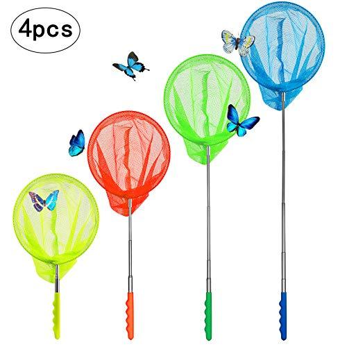 kop Schmetterlingsnetz, Ausziehbar Kinder Kescher Klein Fish Fangnetz Outdoor Spielzeug für Strand Garten Urlaub- Ideal Zum Fangen von Insekten Bugs Angeln (4 Kescher in Bunt) ()