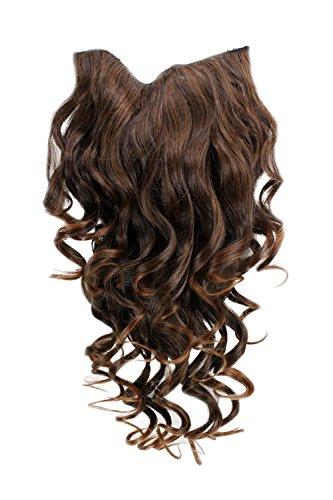 (Clip-in Haarteil mit 7 Klammern, 3/4 Perücke Dunkel-Rot-Braun 50 cm lockig H9503-2T30 Haarverlängerung Wig)