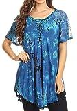 Sakkas 18787 - Mayar Damen Tie-Dye Kurzärmelige Bluse mit Spitze und Korsett - Blau - OSP