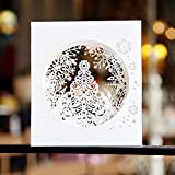 FiedFikt Handgefertigte Weihnachtskarte 3D Pop Up Baum Box Schneeflocke Grußkarte Frohe 1 Stück...