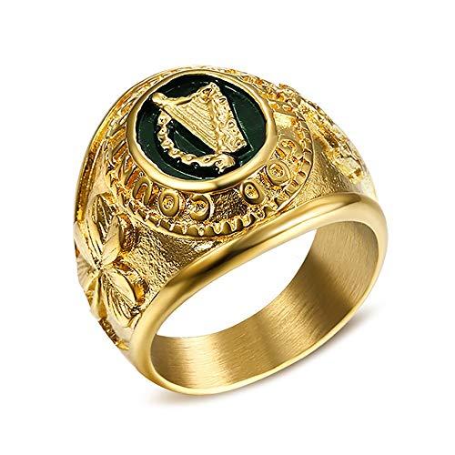 BOBIJOO Jewelry - Siegelring Ring Irland Harfe Kleeblatt-Brosche Tara Irish GOD Country Stahl Gold - 21 (11 US), Vergoldet - Edelstahl 316
