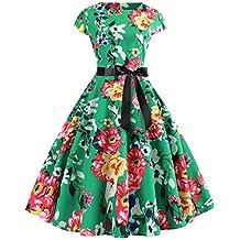 467ea9e46 Lenfesh Rockabilly 50s 60s Vestido Corto con Lazo Mini Vestido Floral  Estampado Vintage Vestir Vestido Fiesta