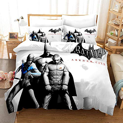 ZZALL Batman Clown Pattern Bettbezug Bettwäsche-Set?mit Polyester-Mikrofaser 3-Set (A8,King 220x240cm)
