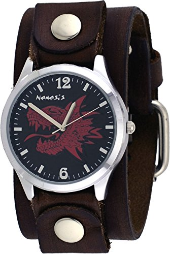 Nemesis FNB933R Men's Red Dragon Wide Brown Artsy Leather Band Analog Watch