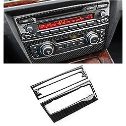Baodiparts Car Carbon Fiber A/C + CD Panel Decal Cover Trim 2pcs