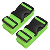 Pushingbest Koffergurt, 2-Stück Gepäckgurt Kofferband der Koffer verstellbar der Koffer-Grün